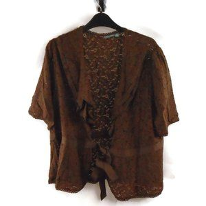 Apt. 9 Brown Lace Tie Front Blouse Cover Up 1X